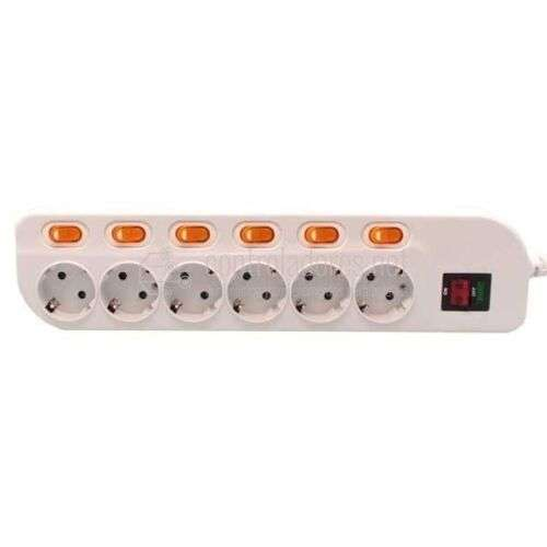 Base múltiple de 6 tomas con interruptor individual