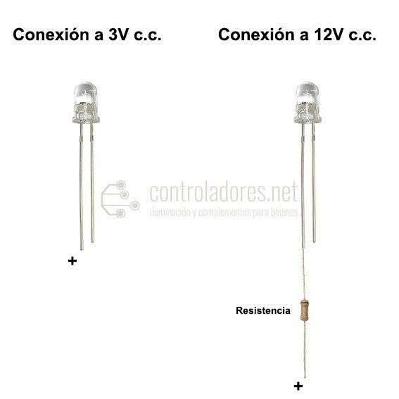 LED 5mm BLANCO 3V,12V c.c. (5 UNIDADES)