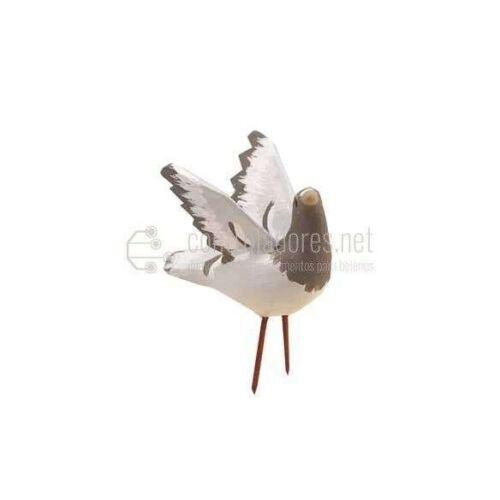 Paloma con alas abiertas para figuras de 16/24 cm. Blanco/Gris