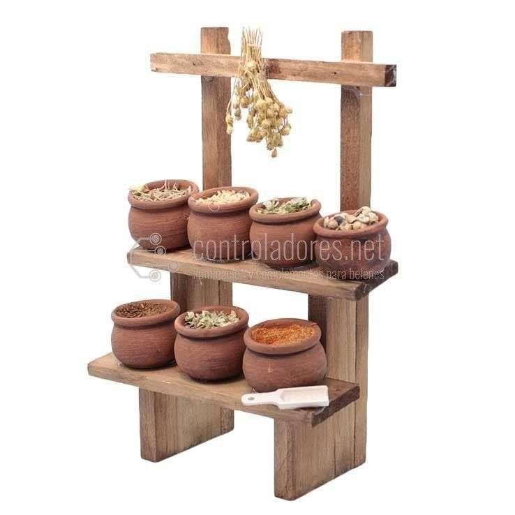 Mesa Puesto con estante de especias