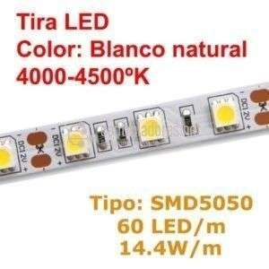 Tira LED BLANCO NATURAL 60 LED/m 14.4w/m (15lm por led)