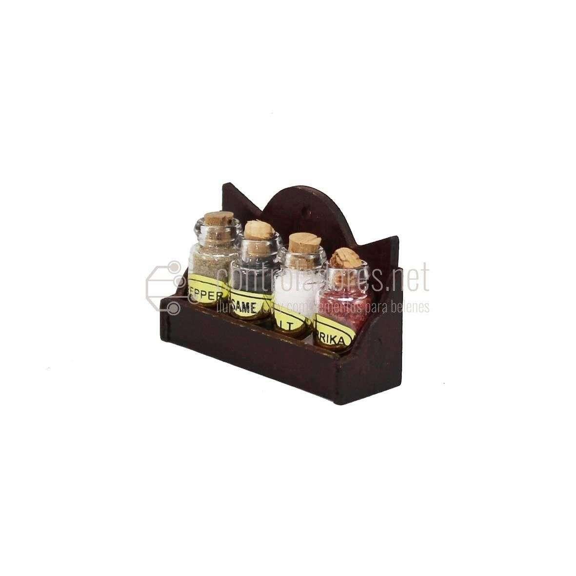 Especiero madera con 4 botes de cristal