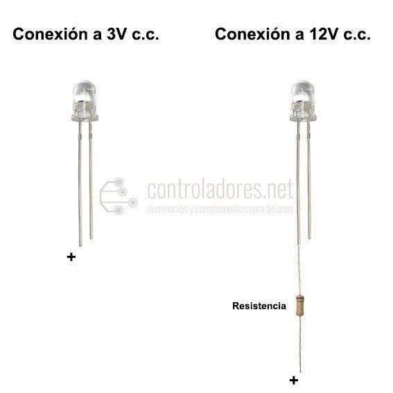 LED 5mm AZUL 3V,12V c.c. (5 UNIDADES)