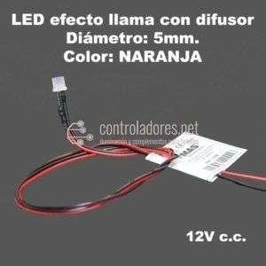 LED 5mm 12V NARANJA efecto llama con cable