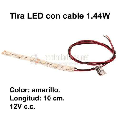 Tira LED (10cm) AMARILLO 1.44W con cable. 12V c.c. - 0.12A