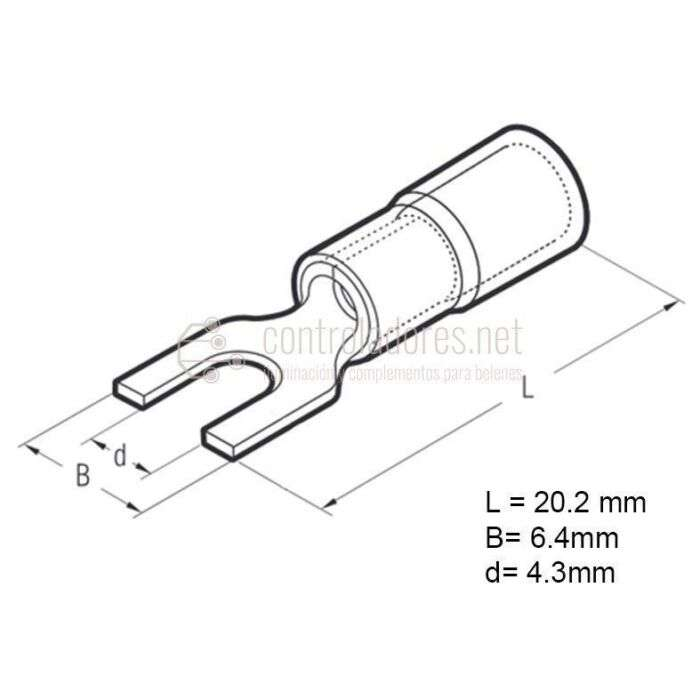 Terminal horquilla 1.5-2.5 mm2 (10 unidades)
