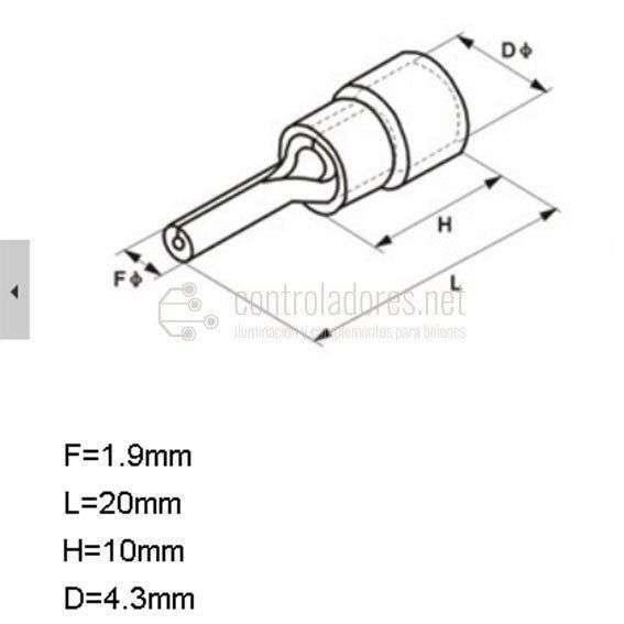 Terminal pin para cable 0.5-1.5mm2
