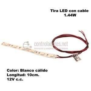 Tira LED (10cm) Blanco cálido 1.44W con cable.
