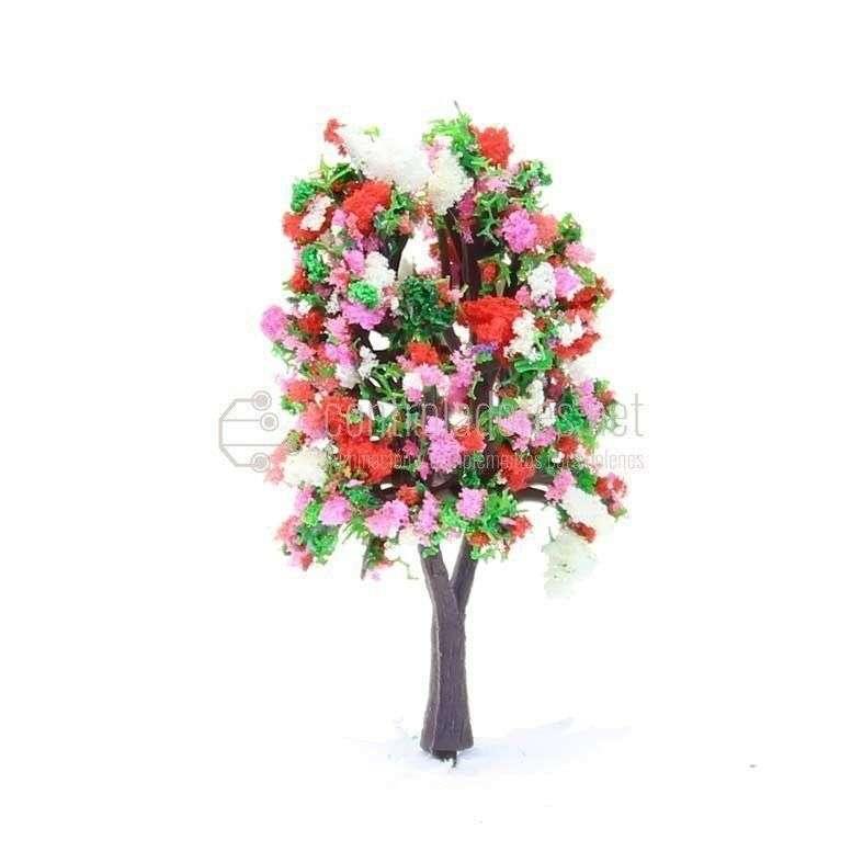 Árbol con flores blaas y rosas