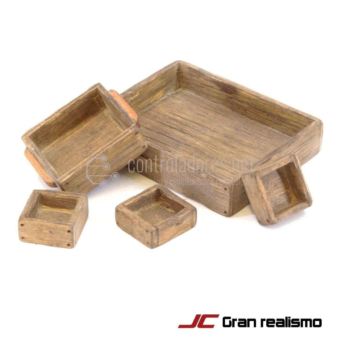 Juego de 5 cajas de madera