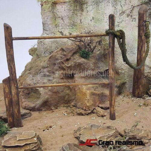 Valla de camino en madera de olivo encordada 24x12