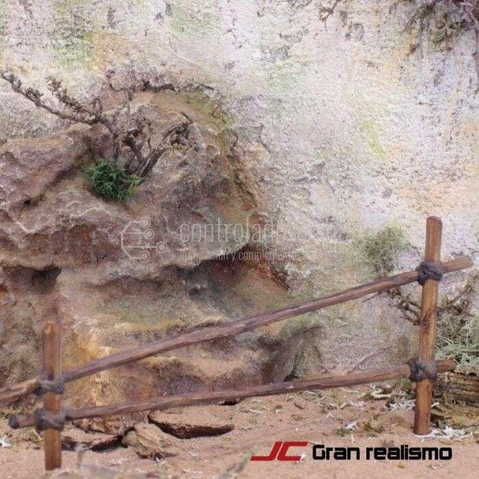 Valla de camino en madera de olivo encordada 16x7