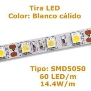 60 WARM WHITE LED STRIP / m 14.4w / m