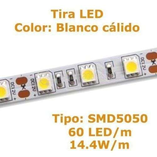 Tira LED BLANCO CÁLIDO 60 LED/m 14.4w/m