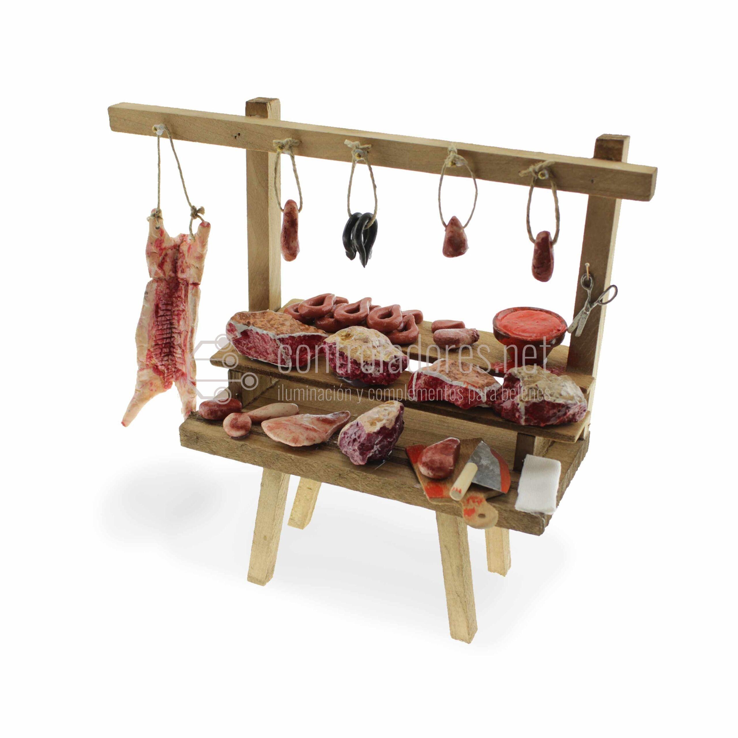 Mesa carnicería con altillo