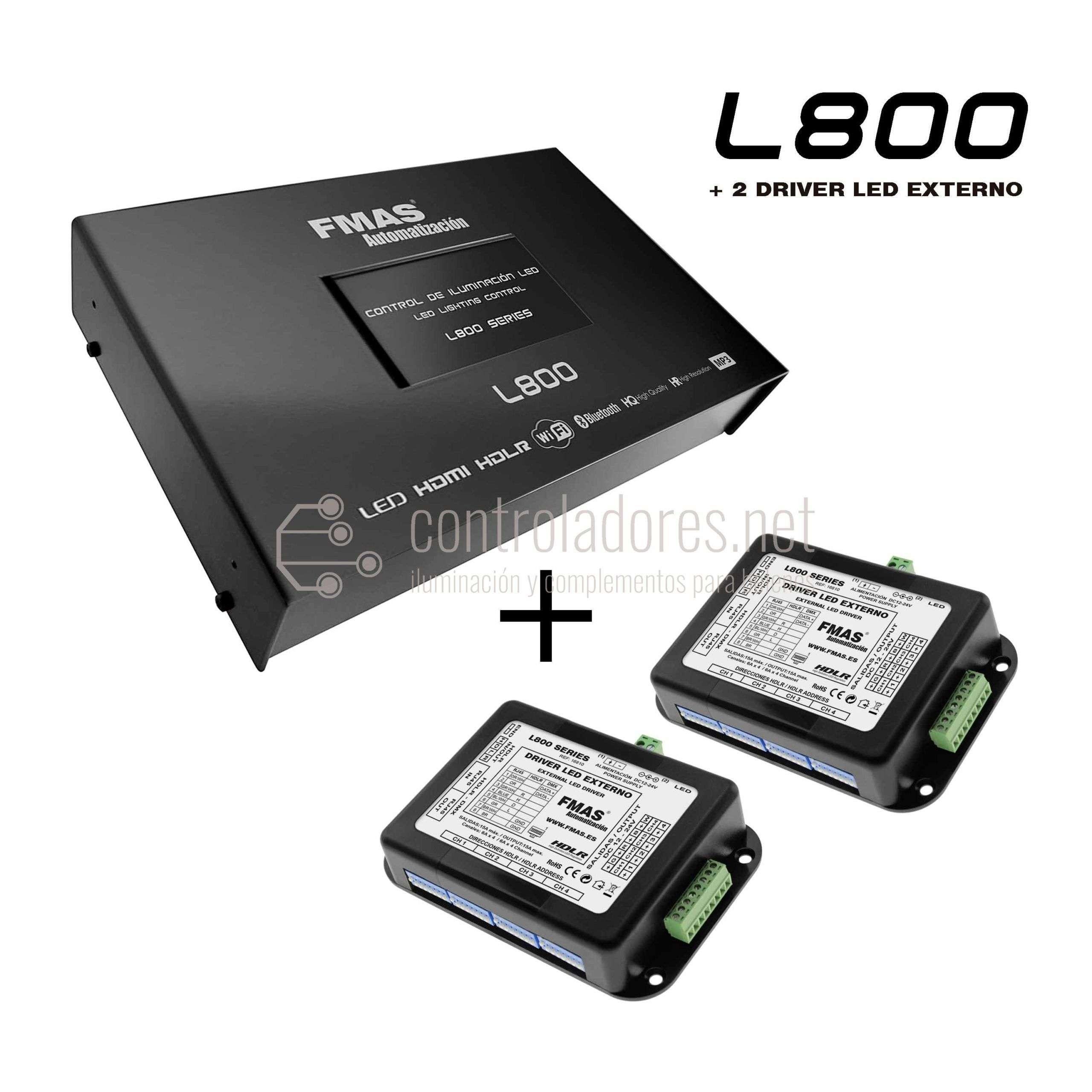 Control de iluminación LED L800 + 2 DRIVER