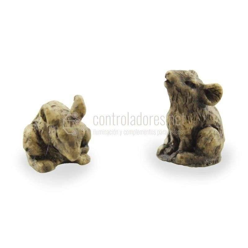 Ratones pequeños marrones de resina (2 uds)