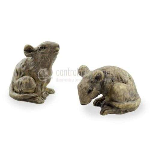 Ratones grandes marrones de resina (2 uds)