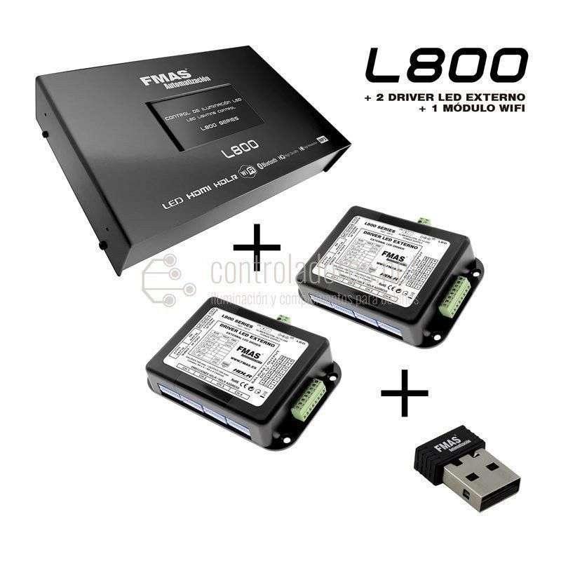 Control de iluminación LED L800 + 2 DRIVER + 1 MÓDULO WIFI
