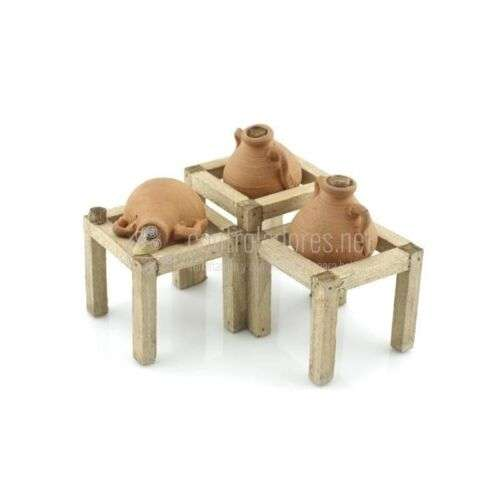 Soporte mini de madera con tres tinajas