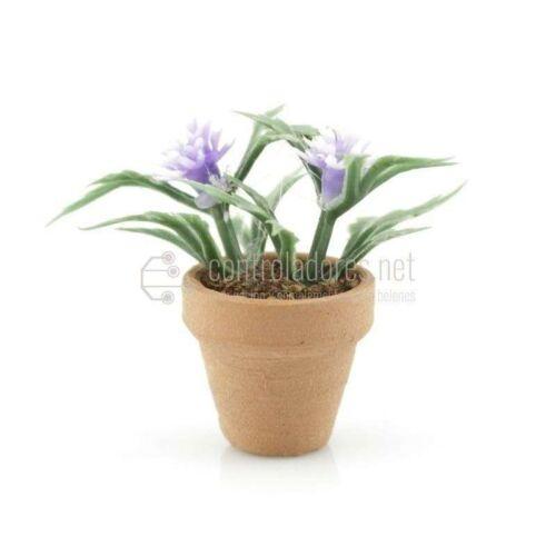 Maceta mini con flor azul