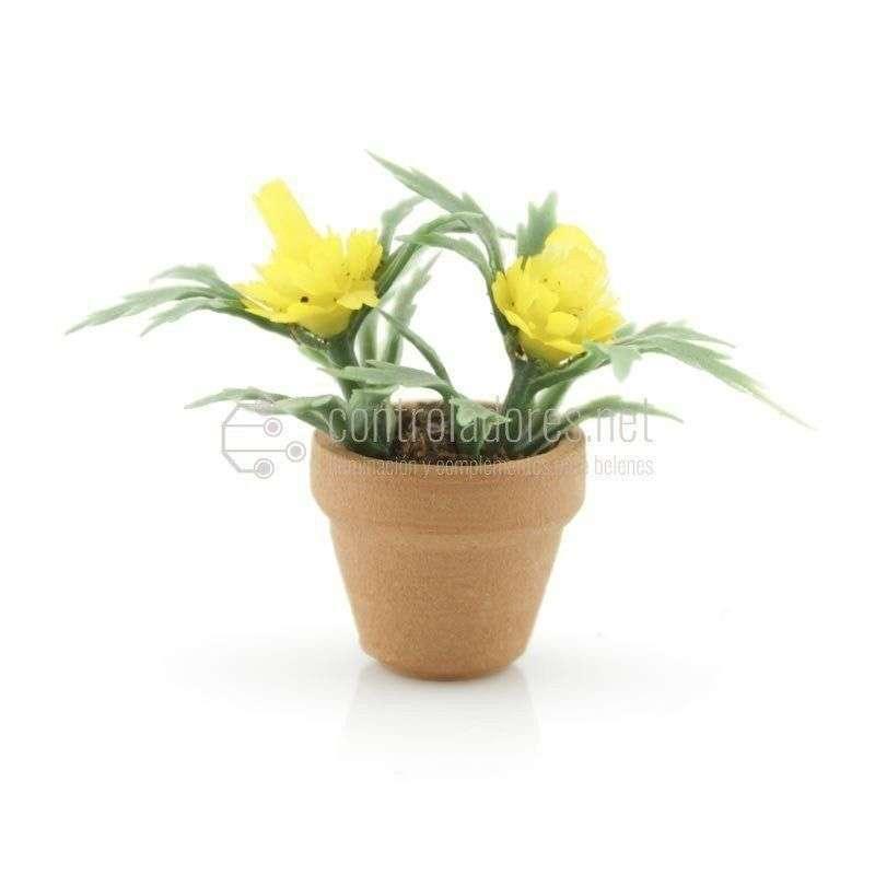 Maceta mini con flor amarilla